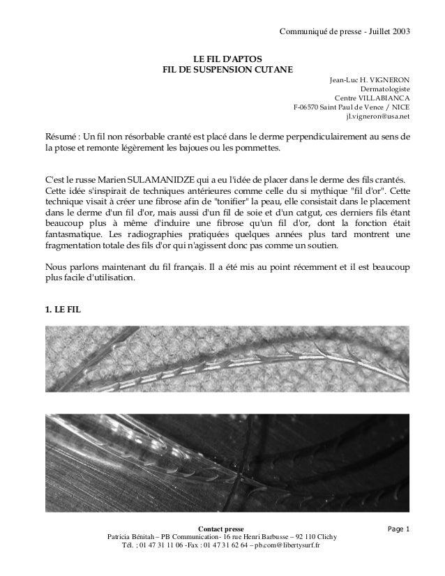 Communiqué de presse - Juillet 2003 Contact presse Patricia Bénitah – PB Communication- 16 rue Henri Barbusse – 92 110 Cli...