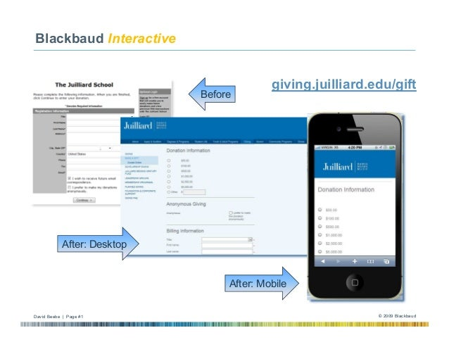 Blackbaud Interactive  Nationals' BBNC Tour of Sites  Before  giving.juilliard.edu/gift  After: Desktop  After: Mobile Dav...