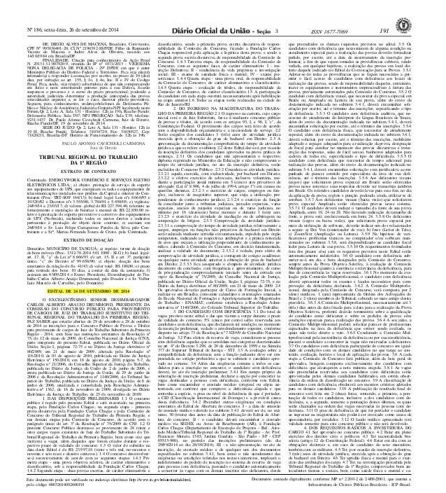 Nº 186, sexta-feira, 26 de setembro de 2014 ISSN 1677-7069 191  Este documento pode ser verificado no endereço eletrônico ...