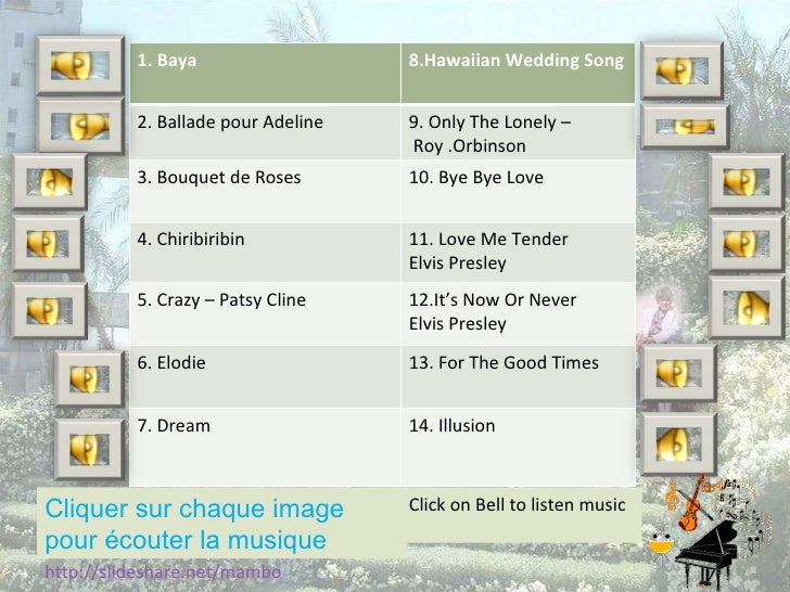 Cliquer sur chaque image pour écouter la musique http://slideshare.net/mambo Click on Bell to listen music 1. Baya 8.Hawai...