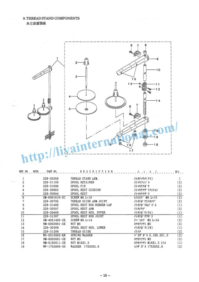 Juki ddl 8500 series, parts list
