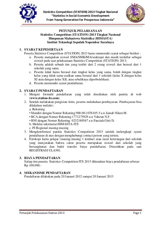 "Statistics Competition (STATION) 2013 Tingkat Nasional                        ""Statistics in Social Economic Development  ..."