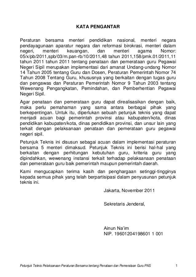 Petunjuk Teknis Pelaksanaan Peraturan Bersama tentang Penataan dan Pemerataan Guru PNS 1 KATA PENGANTAR Peraturan bersama ...