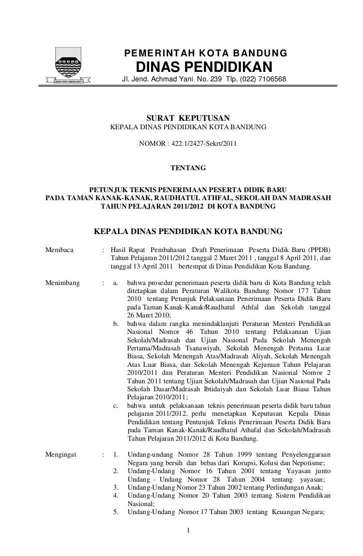 PEMERINT AH KOT A B AN DUNG                         DINAS PENDIDIKAN                      Jl. Jend. Achmad Yani No. 239 Tl...
