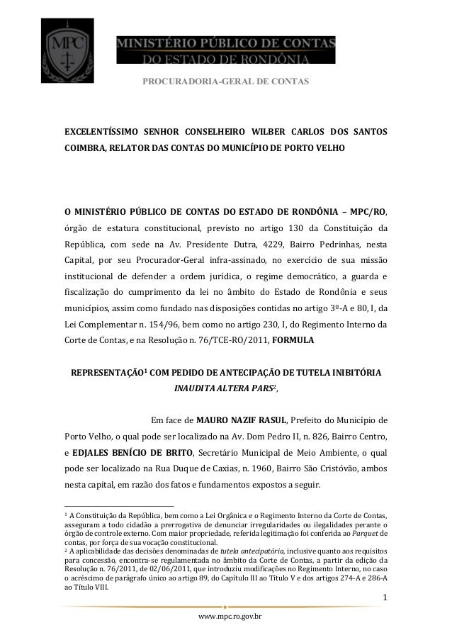 PROCURADORIA-GERAL DE CONTAS 1 www.mpc.ro.gov.br EXCELENTÍSSIMO SENHOR CONSELHEIRO WILBER CARLOS DOS SANTOS COIMBRA, RELAT...