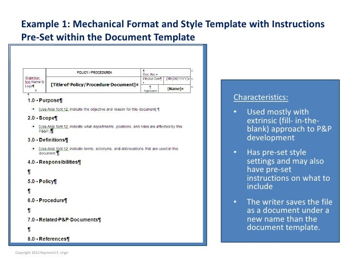 Are You Tempted To Use A Template To Expedite Policies  Procedure De