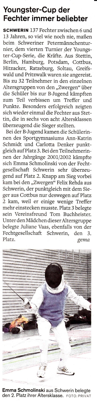 Youngster-Cup derFechter immer beliebterscHwERtN 737 Fechterzwischen 6 und13 Jahren, so viel wie noch nie, maßenbeim Schwe...