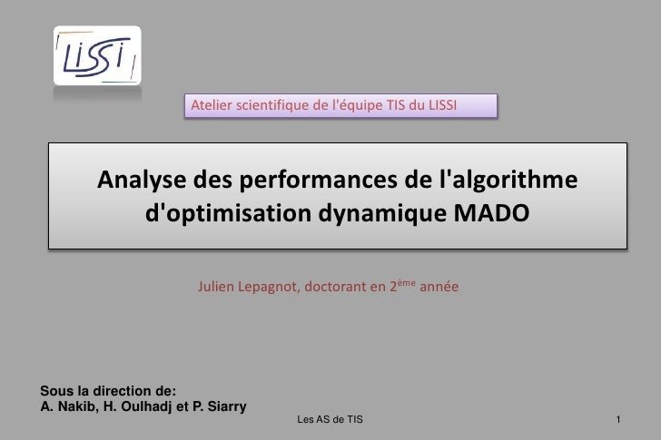 Atelier scientifique de l&apos;équipe TIS du LISSI<br />Analyse des performances de l&apos;algorithme d&apos;optimisation ...