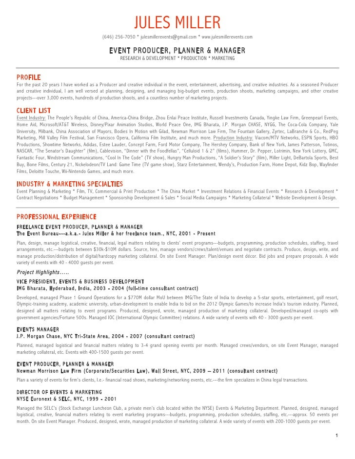 Jules miller events resume for Events manager job description template