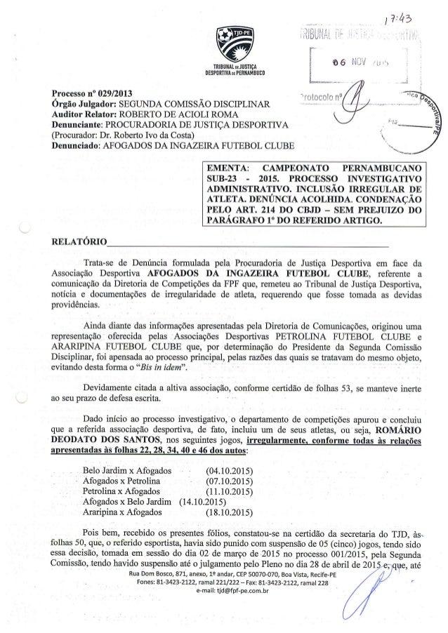 Julgamento 123/2015 contra Afogadense