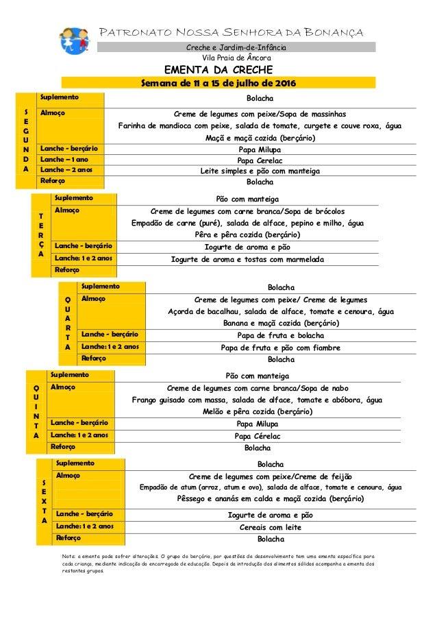 PATRONATO NOSSA SENHORA DA BONANÇA Creche e Jardim-de-Infância Vila Praia de Âncora EMENTA DA CRECHE Semana de 11 a 15 de ...