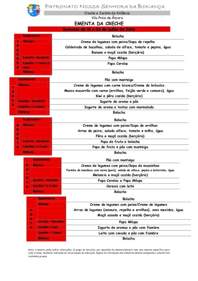 PATRONATO NOSSA SENHORA DA BONANÇA Creche e Jardim-de-Infância Vila Praia de Âncora EMENTA DA CRECHE Semana de 18 a 22 de ...
