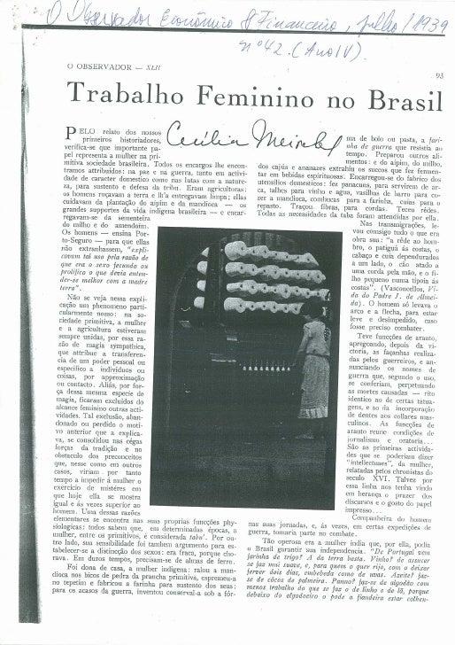 O trabalho feminino no Brasil