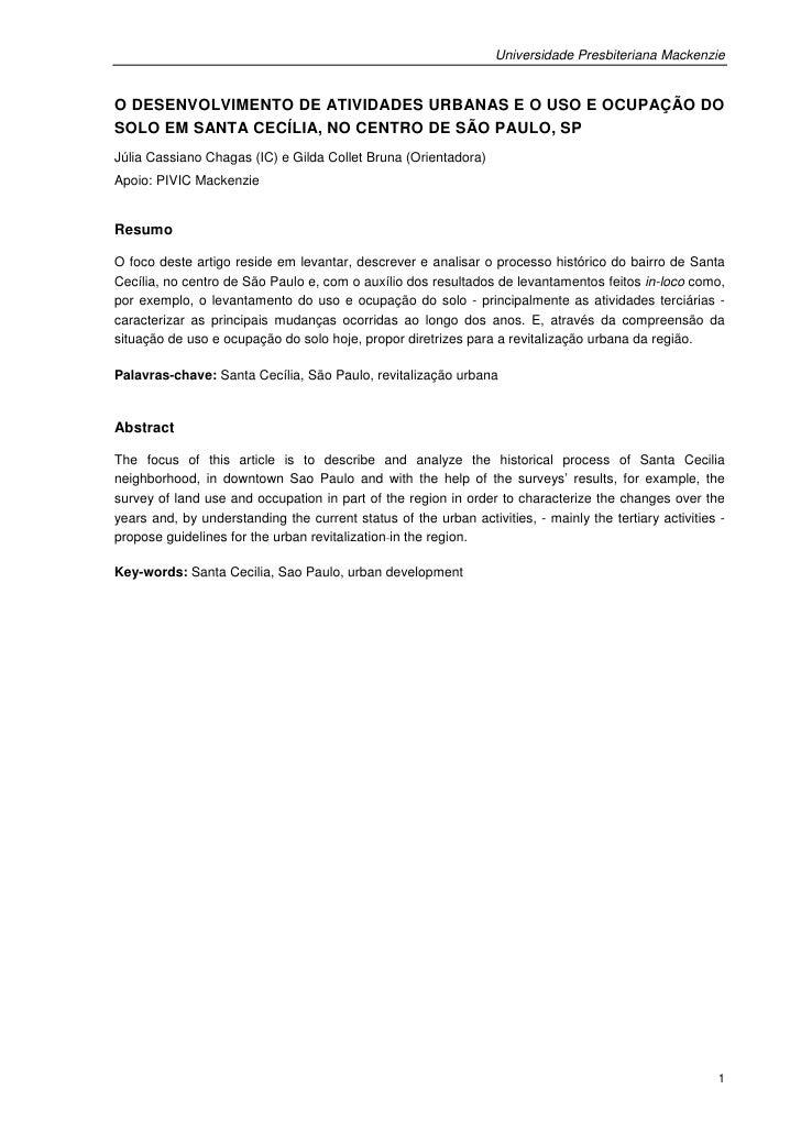 Universidade Presbiteriana MackenzieO DESENVOLVIMENTO DE ATIVIDADES URBANAS E O USO E OCUPAÇÃO DOSOLO EM SANTA CECÍLIA, NO...