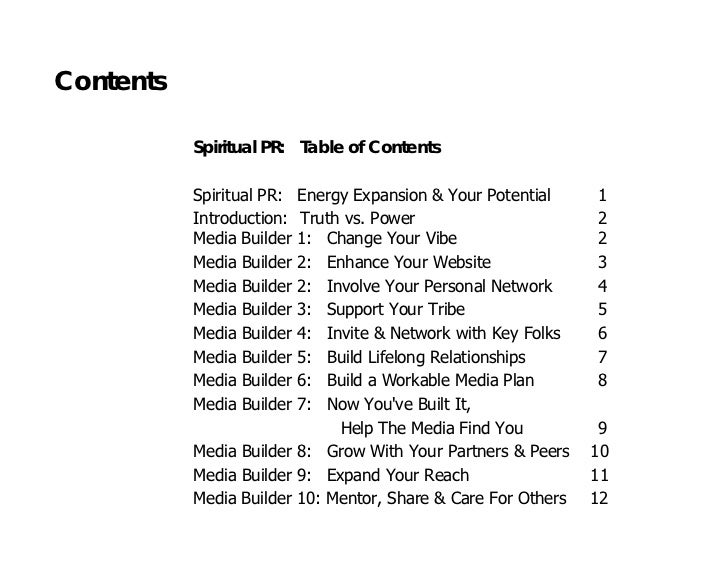 Contents           Spiritual PR: Table of Contents           Spiritual PR: Energy Expansion & Your Potential     1        ...