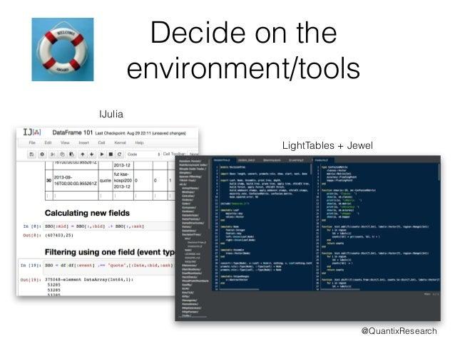 Decide on the  environment/tools  IJulia  LightTables + Jewel  @QuantixResearch
