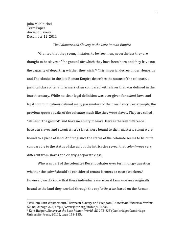 Slavery In Roman Empire Essay Example Research Essay Topics Free Essays