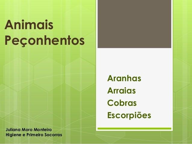 Animais Peçonhentos Aranhas Arraias Cobras Escorpiões Juliana Moro Monteiro Higiene e Primeiro Socorros