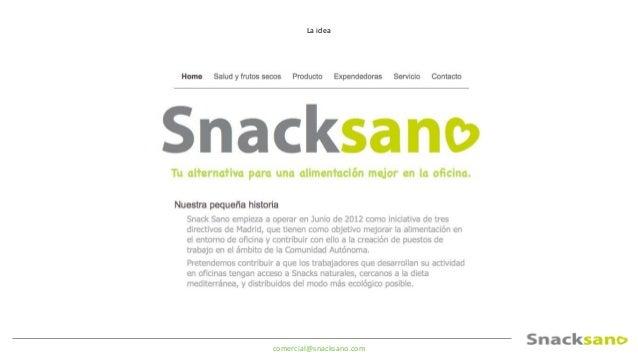 comercial@snacksano.com Tres años después • + de 300 máquinas funcionando en Madrid • + de 100.000 botes vendidos! • 2 emp...
