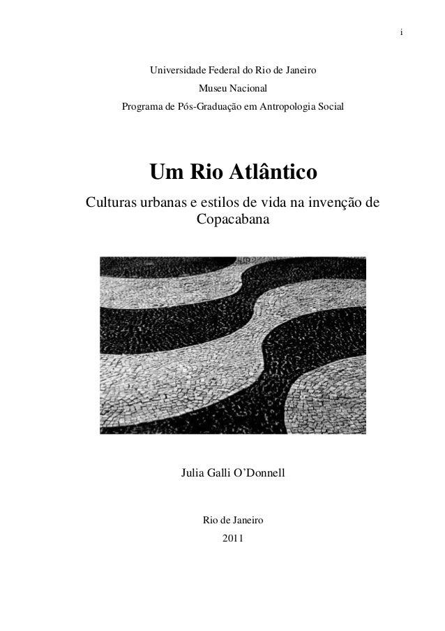 i Universidade Federal do Rio de Janeiro Museu Nacional Programa de Pós-Graduação em Antropologia Social Um Rio Atlântico ...