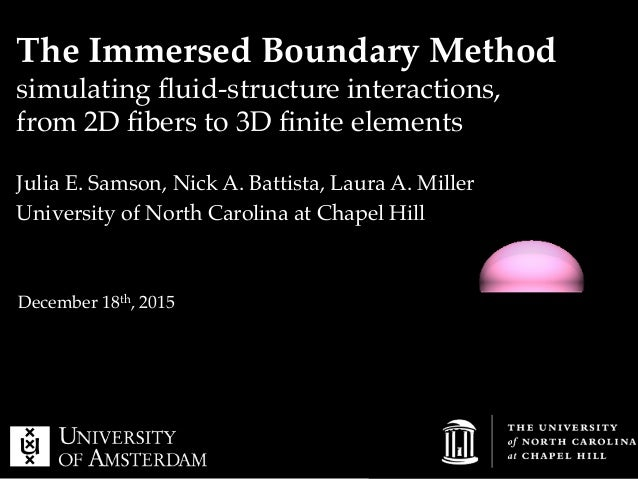 The Immersed Boundary Method! simulating fluid-structure interactions,! from 2D fibers to 3D finite elements ! Julia E. Samso...