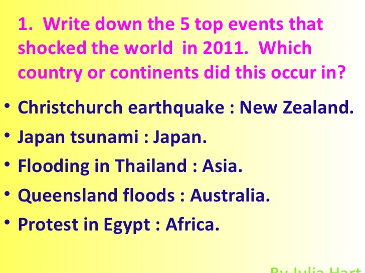 1.  Write down the 5 top events that shocked the world  in 2011.  Which country or continents did this occur in? <ul><li>C...