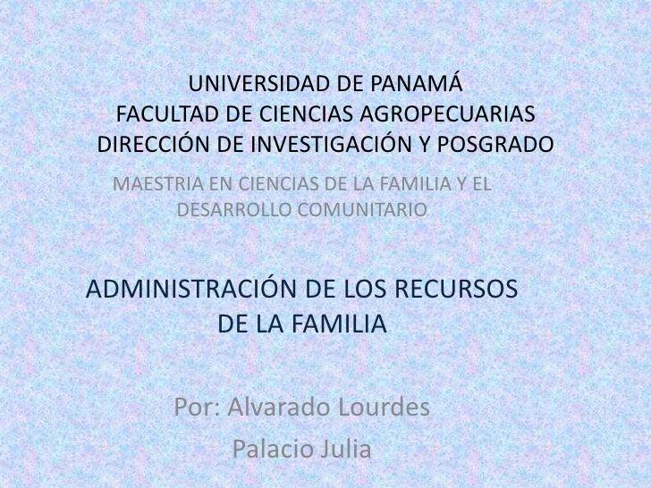 UNIVERSIDAD DE PANAMÁFACULTAD DE CIENCIAS AGROPECUARIASDIRECCIÓN DE INVESTIGACIÓN Y POSGRADO<br />MAESTRIA EN CIENCIAS DE ...
