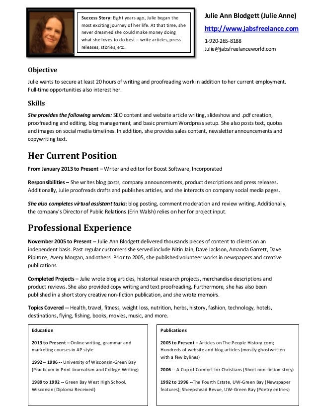 julie anne writer for hire resume
