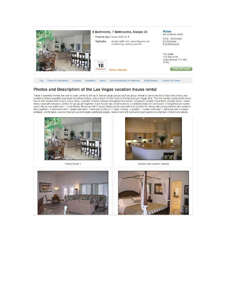 Rental Rates for this vacation house rental in Las      Vegas, Nevada       Rental Basis:             per property      Qu...