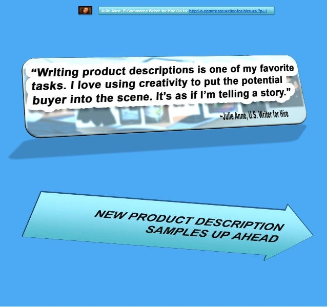 Julie Anne Writer For Hire Us Writing Samples - Product Descriptions ...