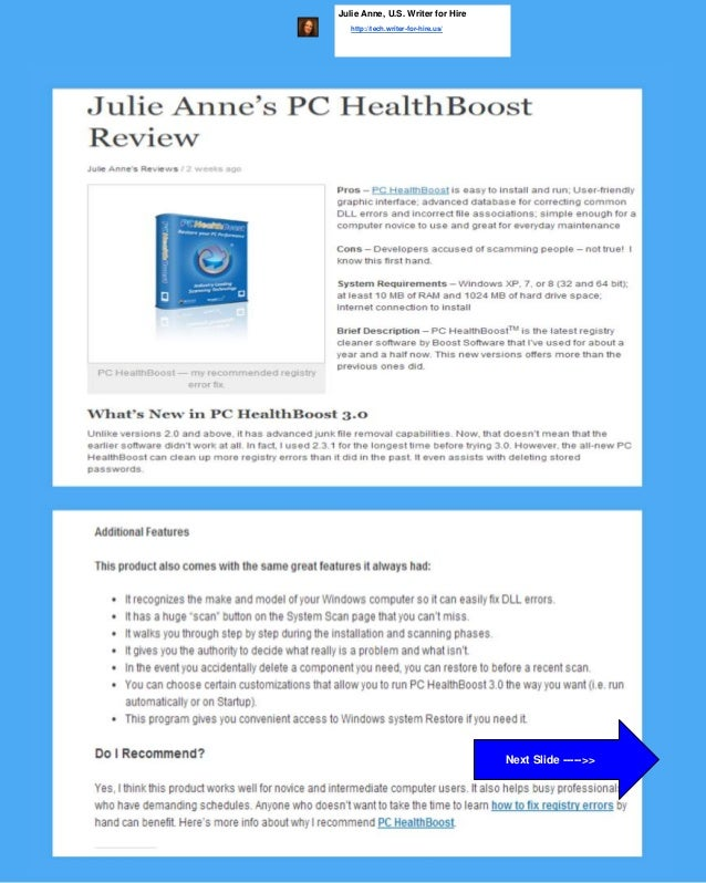 Julie Anne, U.S. Writer for Hire http://tech.writer-for-hire.us/ Next Slide ----->>
