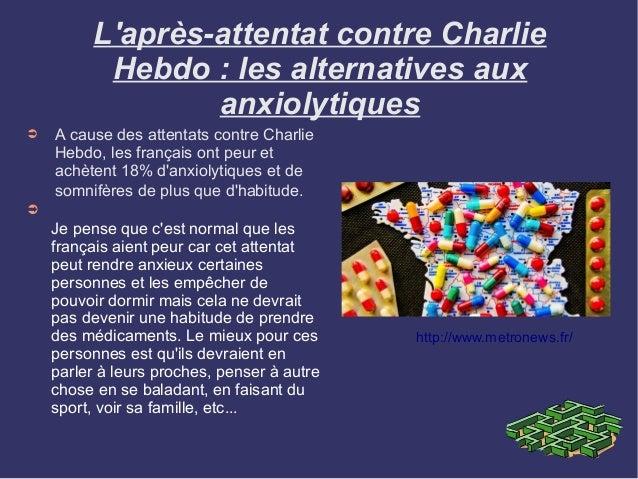 ➲ A cause des attentats contre Charlie Hebdo, les français ont peur et achètent 18% d'anxiolytiques et de somnifères de pl...