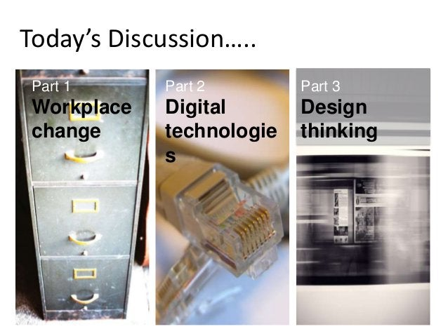 Today's Discussion….. Part 1 Workplace change Part 2 Digital technologie s Part 3 Design thinking
