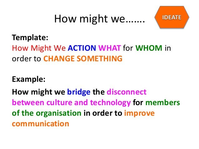 How might we……. Template: How Might We ACTION WHAT for WHOM in order to CHANGE SOMETHING Example: How might we bridge the ...