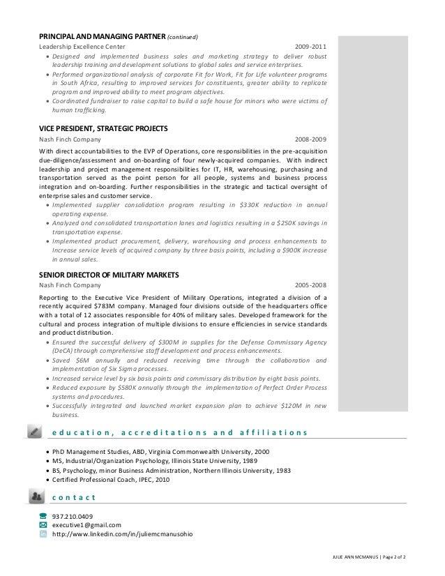 resume of managing director