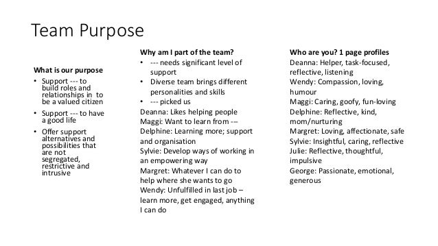 Team Purpose How can we support each other? • Communication • Honest and positive values • Check in (transition) • Debrief...
