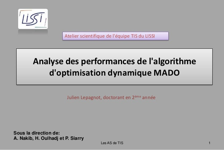 Atelier scientifique de l'équipe TIS du LISSI<br />Analyse des performances de l'algorithme d'optimisation ...