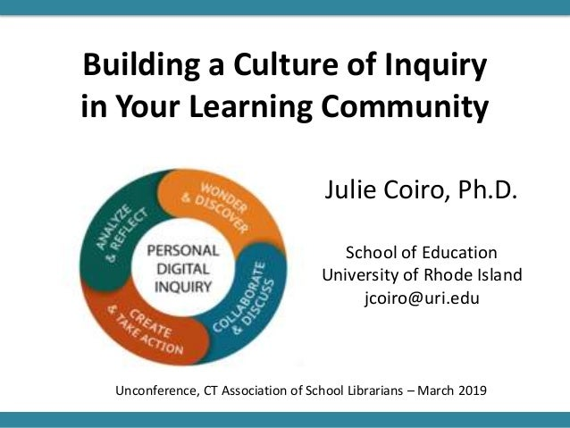 Building a Culture of Inquiry in Your Learning Community Julie Coiro, Ph.D. School of Education University of Rhode Island...