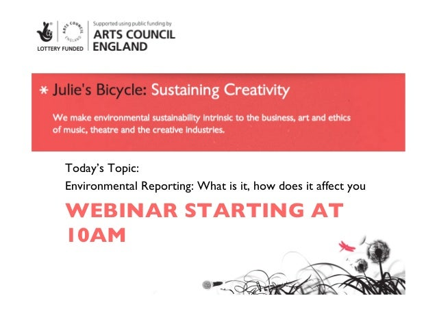 Today's Topic: Environmental Reporting: What is it, how does it affect you WEBINAR STARTING AT10AM