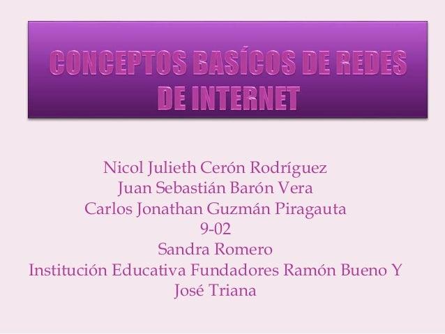 Nicol Julieth Cerón Rodríguez Juan Sebastián Barón Vera Carlos Jonathan Guzmán Piragauta 9-02 Sandra Romero Institución Ed...