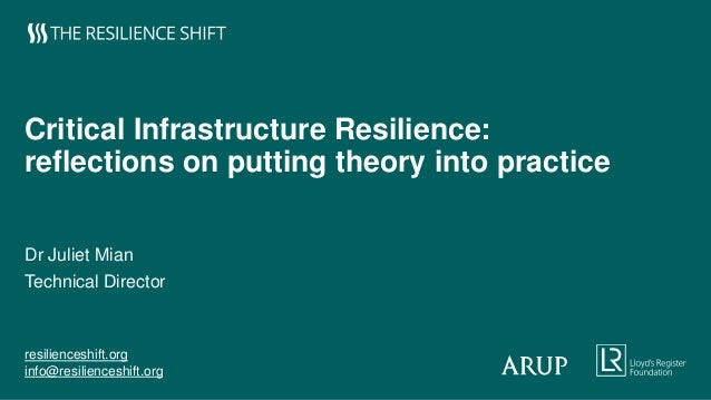 resilienceshift.org info@resilienceshift.org Critical Infrastructure Resilience: reflections on putting theory into practi...
