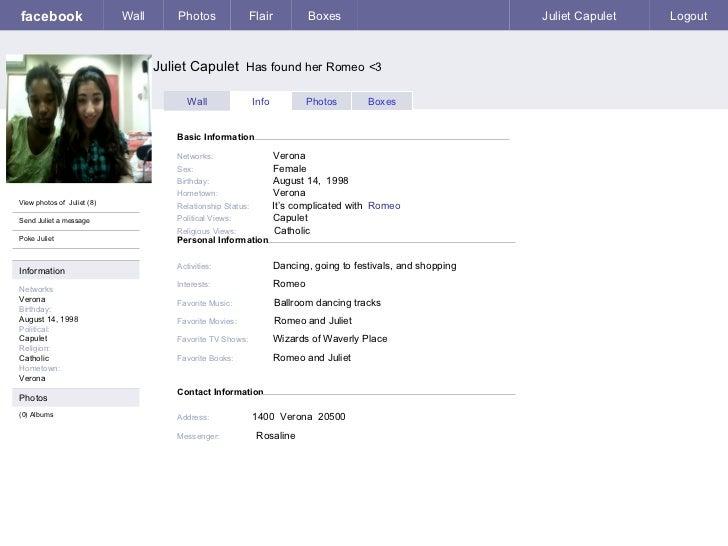 Juliet Fakebook Page
