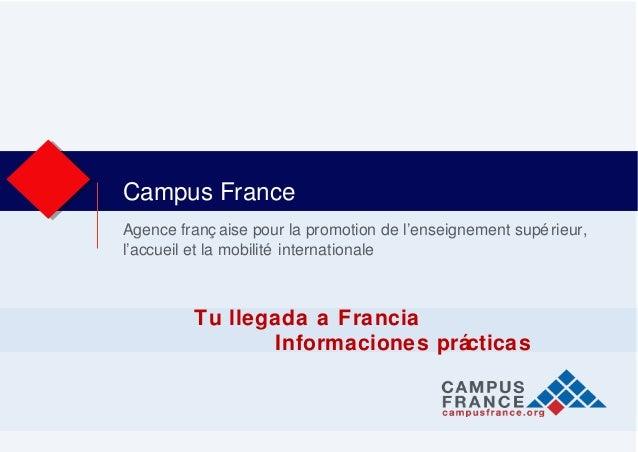 Agence franç aise pour la promotion de l'enseignement supérieur, l'accueil et la mobilité internationale Campus France Tu ...