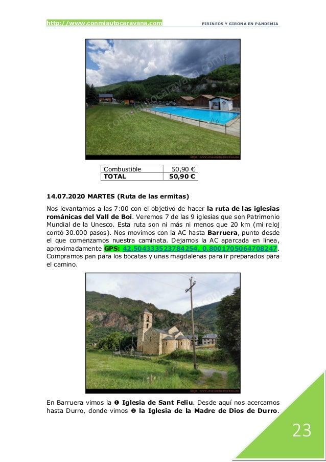 http://www.conmiautocaravana.com PIRINEOS Y GIRONA EN PANDEMIA 23 Combustible 50,90 € TOTAL 50,90 € 14.07.2020 MARTES (Rut...