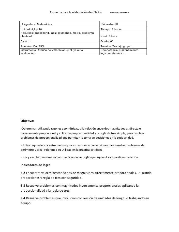 Esquema para la elaboración de rúbrica         Distrito 03-17 Metalío     Asignatura: Matemática                          ...