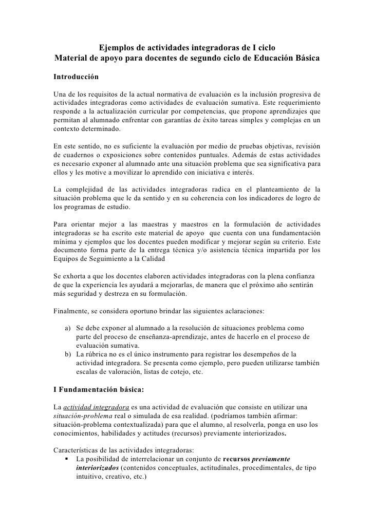 Ejemplos de actividades integradoras de I ciclo Material de apoyo para docentes de segundo ciclo de Educación Básica  Intr...