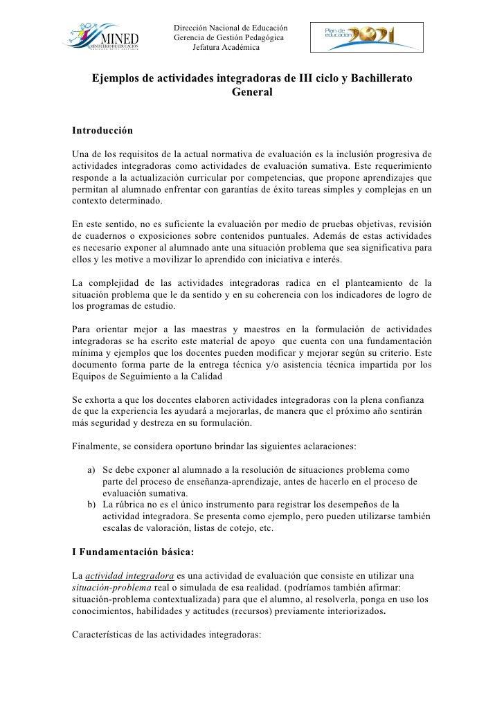 Dirección Nacional de Educación                          Gerencia de Gestión Pedagógica                               Jefa...