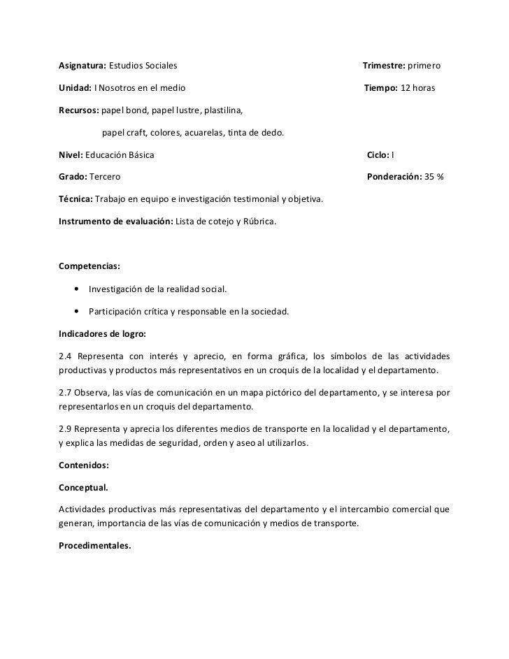 Asignatura: Estudios Sociales                                            Trimestre: primeroUnidad: I Nosotros en el medio ...