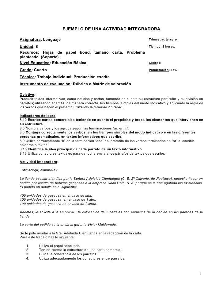 EJEMPLO DE UNA ACTIVIDAD INTEGRADORA  Asignatura: Lenguaje                                                            Trim...