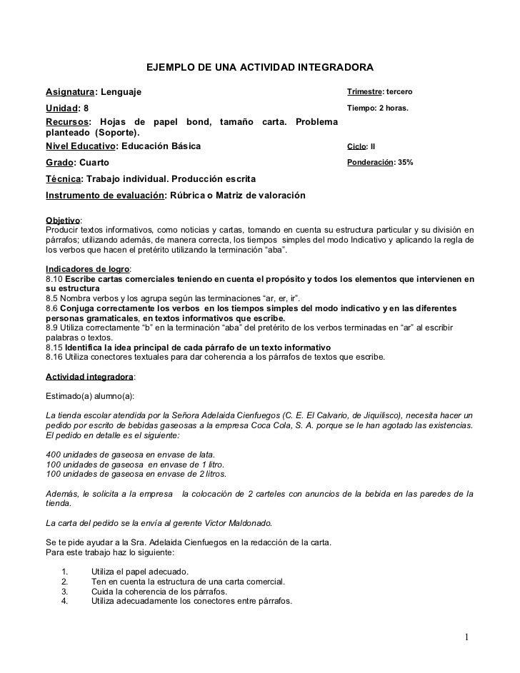 EJEMPLO DE UNA ACTIVIDAD INTEGRADORAAsignatura: Lenguaje                                                            Trimes...